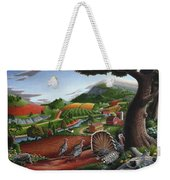 Wild Turkeys In The Hills Country Landscape - Square Format Weekender Tote Bag