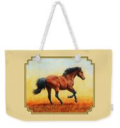 Running Horse - Evening Fire Weekender Tote Bag by Crista Forest