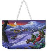 Winter Mountain Landscape - Cardinals On Holly Bush - Small Town - Sleigh Ride - Square Format Weekender Tote Bag