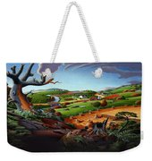 Appalachian Fall Thanksgiving Wheat Field Harvest Farm Landscape Painting - Rural Americana - Autumn Weekender Tote Bag
