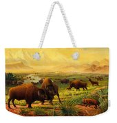 Buffalo Fox Great Plains Western Landscape Oil Painting - Bison - Americana - Historic - Walt Curlee Weekender Tote Bag