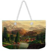 Indian Village Trapper Western Mountain Landscape Oil Painting - Native Americans Americana Stream Weekender Tote Bag