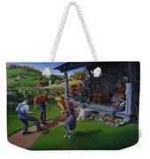 Porch Music And Flatfoot Dancing - Mountain Music - Farm Folk Art Landscape - Square Format Weekender Tote Bag