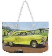 Studebaker Champion Antique Americana Nostagic Rustic Rural Farm Country Auto Car Painting Weekender Tote Bag