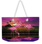 Flamingoes Flamingos Tropical Sunset Landscape Florida Everglades Large Hot Pink Purple Print Weekender Tote Bag