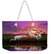Whooping Cranes Tropical Florida Everglades Sunset Birds Landscape Scene Purple Pink Print Weekender Tote Bag