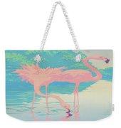 abstract Pink Flamingos retro pop art nouveau tropical bird 80s 1980s florida painting print Weekender Tote Bag