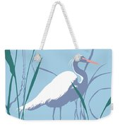 abstract Egret graphic pop art nouveau 1980s stylized retro tropical florida bird print blue gray  Weekender Tote Bag