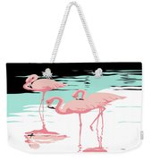 Pink Flamingos Tropical 1980s Abstract Pop Art Nouveau Graphic Art Retro Stylized Florida Print Weekender Tote Bag