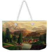 Indian Village Trapper Western Mountain Landscape Oil Painting - Native Americans -square Format Weekender Tote Bag