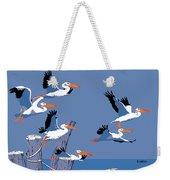 abstract Pelicans seascape tropical pop art nouveau 1980s florida birds large retro painting  Weekender Tote Bag