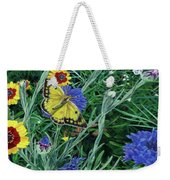 Butterfly And Wildflowers Spring Floral Garden Floral In Green And Yellow - Square Format Image Weekender Tote Bag