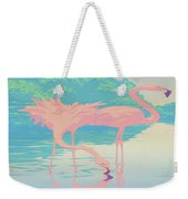 Square Format - Pink Flamingos Retro Pop Art Nouveau Tropical Bird 80s 1980s Florida Painting Print Weekender Tote Bag
