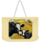 Holstein Cow And Calf Farm Weekender Tote Bag by Crista Forest