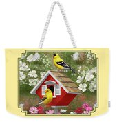 Red Birdhouse And Goldfinches Weekender Tote Bag by Crista Forest