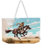 Pony Express Rider Historical Americana Painting Desert Scene Weekender Tote Bag