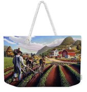 Appalachian Folk Art Summer Farmer Cultivating Peas Farm Farming Landscape Appalachia Americana Weekender Tote Bag