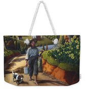 Boy And Dog Farm Landscape - Flashback - Childhood Memories - Americana - Painting - Walt Curlee Weekender Tote Bag