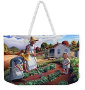 Family Vegetable Garden Farm Landscape - Gardening - Childhood Memories - Flashback - Homestead Weekender Tote Bag