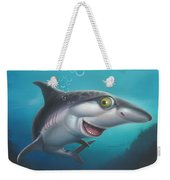 friendly Shark Cartoony cartoon under sea ocean underwater scene art print blue grey  Weekender Tote Bag