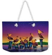 Pelican Sunset Whimsical Cartoon Tropical Birds Seascape Print Blue Orange Purple Yellow Weekender Tote Bag