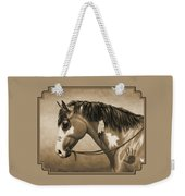 Buckskin War Horse In Sepia Weekender Tote Bag by Crista Forest