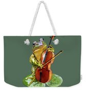 Humorous Scene Frog Playing Cello In Lily Pond Weekender Tote Bag