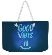 Good Vibes  Funny Smiley Statement Happy Face Blue Stars Edit Weekender Tote Bag