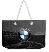 B M W  3 D  Badge Over B M W I8 Silver Blueprint On Black Special Edition Weekender Tote Bag