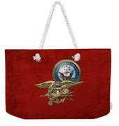 U. S. Navy S E A Ls Trident Over Red Velvet Weekender Tote Bag