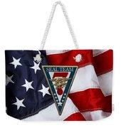 U. S. Navy S E A Ls - S E A L Team Seven  -  S T 7  Patch Over U. S. Flag Weekender Tote Bag
