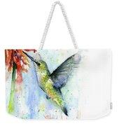 Hummingbird And Red Flower Watercolor Weekender Tote Bag