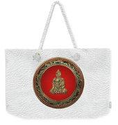 Treasure Trove - Gold Buddha On White Leather Weekender Tote Bag