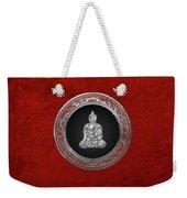 Treasure Trove - Silver Buddha On Red Velvet Weekender Tote Bag
