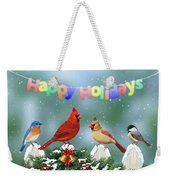 Christmas Birds And Garland Weekender Tote Bag by Crista Forest