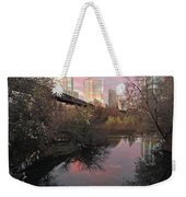 Austin Hike And Bike Trail - Train Trestle 1 Sunset Triptych Right Weekender Tote Bag
