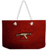 Gold A K S-74 U Assault Rifle With 5.45x39 Rounds Over Red Velvet   Weekender Tote Bag