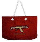 Gold A K S-74 U Assault Rifle With 5.45x39 Rounds Over Red Velvet   Weekender Tote Bag by Serge Averbukh