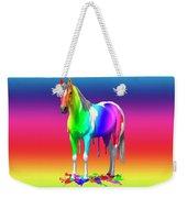 Colorful Rainbow Paint Horse Weekender Tote Bag