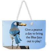 Blue Jay And A Peanut Weekender Tote Bag