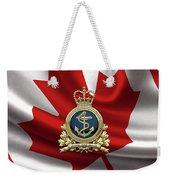 Royal Canadian Navy  -  R C N  Badge Over Canadian Flag Weekender Tote Bag