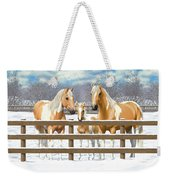 Palomino Paint Horses In Snow Weekender Tote Bag by Crista Forest