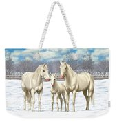 White Horses In Winter Pasture Weekender Tote Bag by Crista Forest