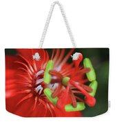 Passiflora Vitifolia Scarlet Red Passion Flower Weekender Tote Bag by Sharon Mau