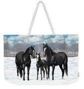Black Horses In Winter Pasture Weekender Tote Bag