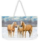 Palomino Horses In Winter Pasture Weekender Tote Bag