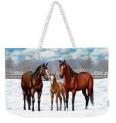 Bay Horses In Winter Pasture Weekender Tote Bag by Crista Forest