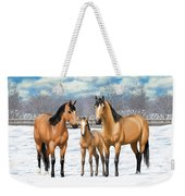 Buckskin Horses In Winter Pasture Weekender Tote Bag