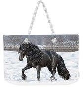 Black Friesian Horse In Snow Weekender Tote Bag
