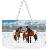 Bay Appaloosa Horses In Winter Pasture Weekender Tote Bag